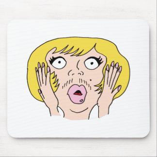 Woman growing facial hair mouse pad
