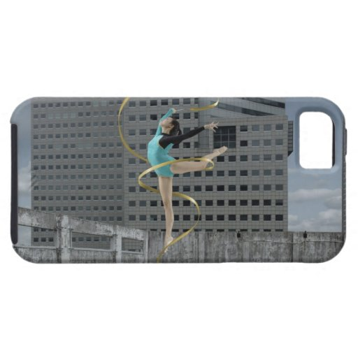 Woman gymnast outdoors on rooftop jumping in air iPhone 5 covers