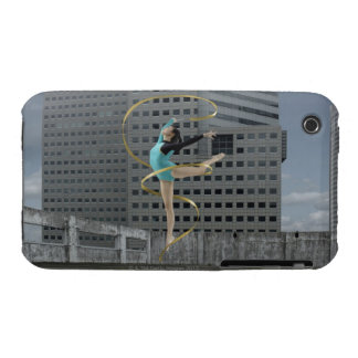 Woman gymnast outdoors on rooftop jumping in air iPhone 3 case