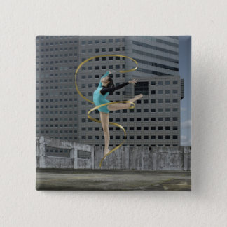 Woman gymnast outdoors on rooftop jumping in air pinback button