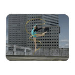 Woman gymnast outdoors on rooftop jumping in air vinyl magnet