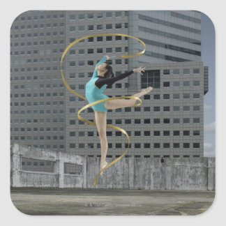 Woman gymnast outdoors on rooftop jumping in air square stickers