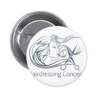 Woman Hairdresser Scissor Concept Button