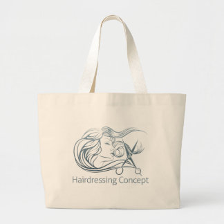 Woman Hairdresser Scissor Concept Large Tote Bag