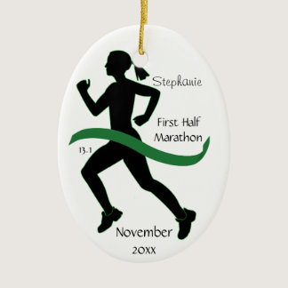 Woman Half Marathon Runner Ornament in Green