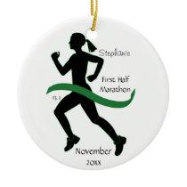 Woman Half Marathon Runner Ornament in Green