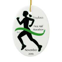 Woman Half Marathon Runner Ornament in Lt. Green