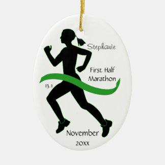 Woman Half Marathon Runner Ornament in Lt. Green