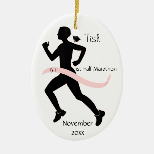 Woman Half Marathon Runner Ornament in Pink