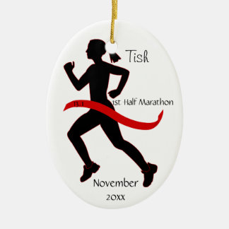Woman Half Marathon Runner Ornament in Red