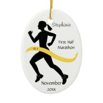 Woman Half Marathon Runner Ornament in Yellow Gold