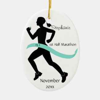 Woman Half Marathon Runner Ornament Teal