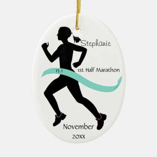 Woman Half Marathon Runner Ornament Teal