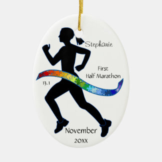 Woman Half Marathon Runner Puzzle Ribbon Ceramic Ornament