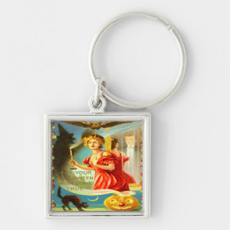 Woman Halloween Night Silver-Colored Square Keychain