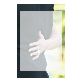 woman hand on black jacket man stationery paper
