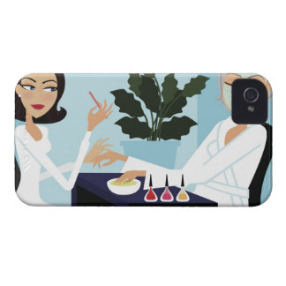 Woman having manicure and facial at spa iPhone 4 case