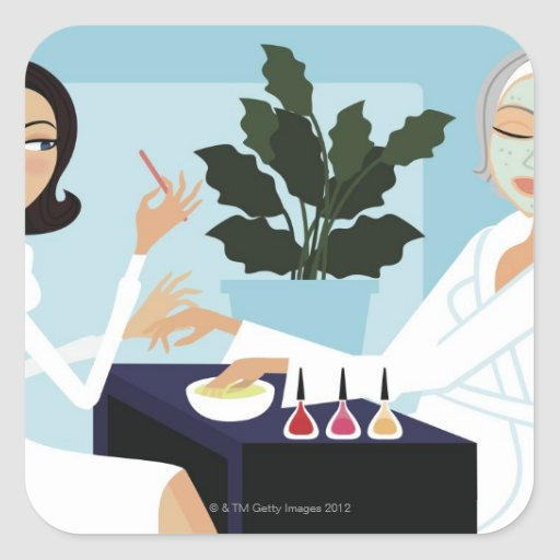 Woman having manicure and facial at spa square sticker