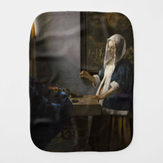 Woman Holding a Balance by Johannes Vermeer Burp Cloth
