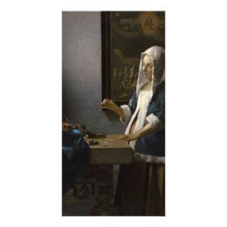 Woman Holding a Balance by Johannes Vermeer Card