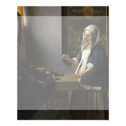 Woman Holding a Balance by Johannes Vermeer Flyer Design
