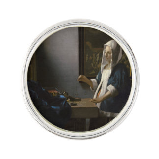 Woman Holding a Balance by Johannes Vermeer Lapel Pin
