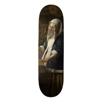 Woman Holding a Balance by Johannes Vermeer Custom Skateboard
