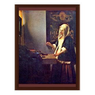 Woman Holding A Balance By Vermeer Van Delft Jan Postcard
