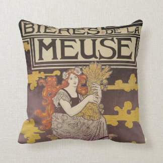 Woman Holding A Bundle of Wheat Throw Pillow