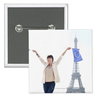 Woman holding a European Union flag and a French 2 Inch Square Button