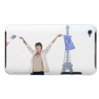 Woman holding a European Union flag and a French Barely There iPod Case