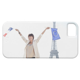 Woman holding a European Union flag and a French iPhone 5 Case