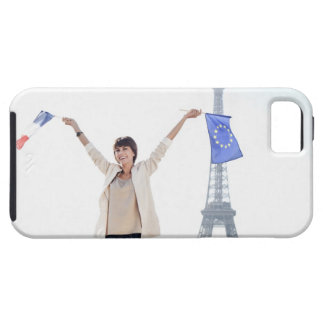 Woman holding a European Union flag and a French iPhone 5 Cover