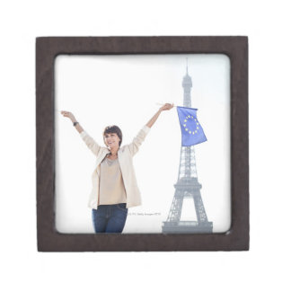 Woman holding a European Union flag and a French Keepsake Box