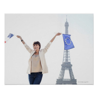 Woman holding a European Union flag and a French Poster