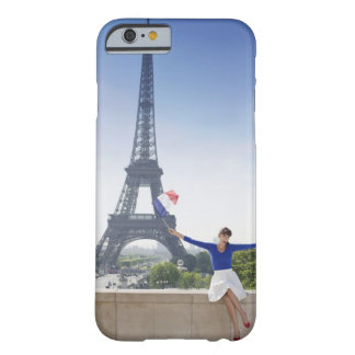 Woman holding a French flag sitting on a stone 2 Barely There iPhone 6 Case