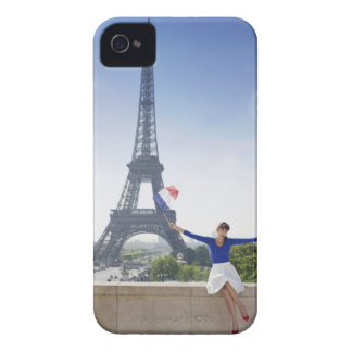 Woman holding a French flag sitting on a stone 2 Case-Mate iPhone 4 Case