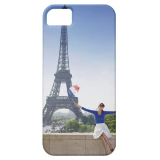 Woman holding a French flag sitting on a stone 2 iPhone SE/5/5s Case