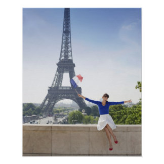 Woman holding a French flag sitting on a stone 2 Poster