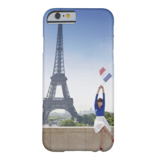 Woman holding a French flag sitting on a stone Barely There iPhone 6 Case