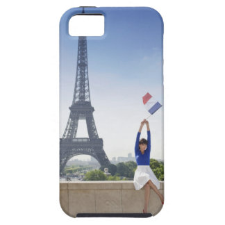 Woman holding a French flag sitting on a stone iPhone 5 Cases