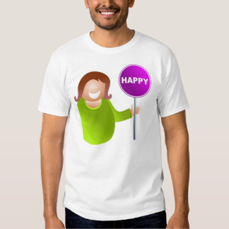 Woman Holding a Happy Sign Tee Shirt