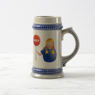 Woman Holding a Help Sign 18 Oz Beer Stein