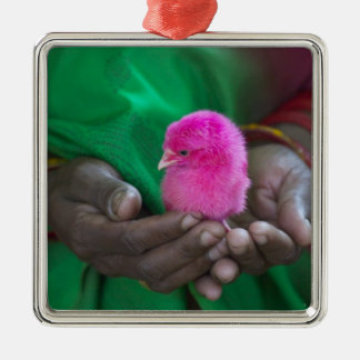 Woman holding a little chick painted with holy ornament