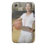 Woman holding basketball and clipbpard, smiling, iPhone 3 cover