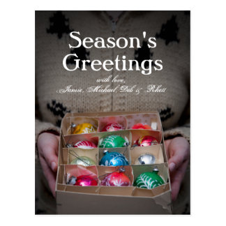 Woman Holding Box of Christmas Ornaments Postcard
