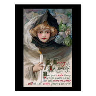 Woman Holding Candle and Goblins Vintage Halloween Postcard