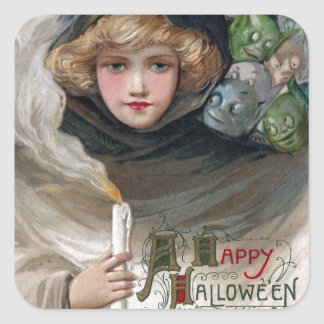 Woman Holding Candle and Goblins Vintage Halloween Square Sticker