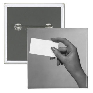 Woman Holding Card Button