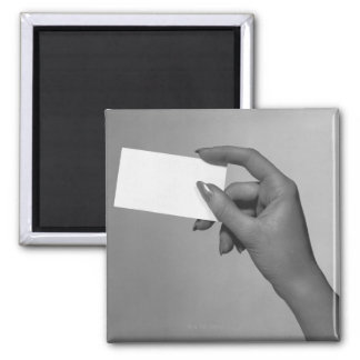 Woman Holding Card Magnet